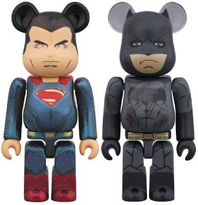 Batman v Superman: Dawn of Justice 100% Be@rbrick Set #2 by Medicom – Heat Vision Superman & Battle Damage Batman