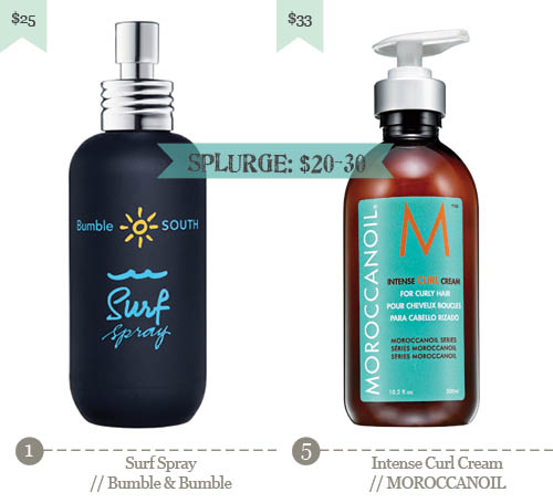 5. Surf Spray - Bumble & Bumble, 6. Intense Curl Cream - Moroccanoil