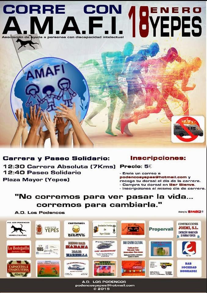 """Carrera Solidaria """"Corre con A.M.A.F.I."""" de Yepes"""
