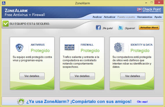Protege Windows 8 con ZoneAlarm