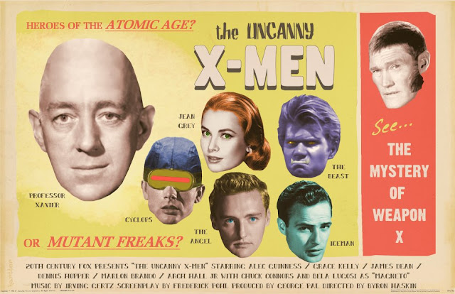 Poster ficcional do filme X-Men. Estrelando: Alec Guinness, Grace Kelly, James Dean, Dennis Hopper, Marlon Brando, Bela Lugosi etc.