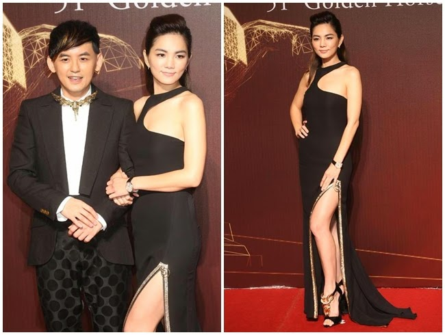 2014 Golden Horse Awards:Ella Chen wore the same Versace gown with Jamie King and Anne Hathaway