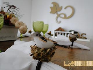 porta guardanapo, ninho, passarinho, arranjo mesa, atelier Rosa Maria, taça bico de jaca verde