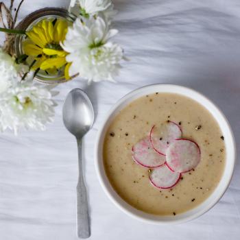 Radish Leek Soup | thumb in plum