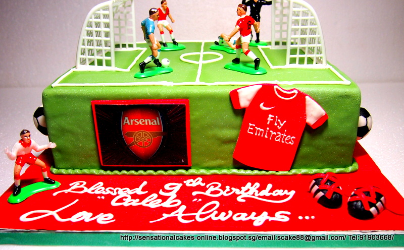 The Sensational Cakes ARSENAL SOCCER THEME CAKE SINGAPORE 3D