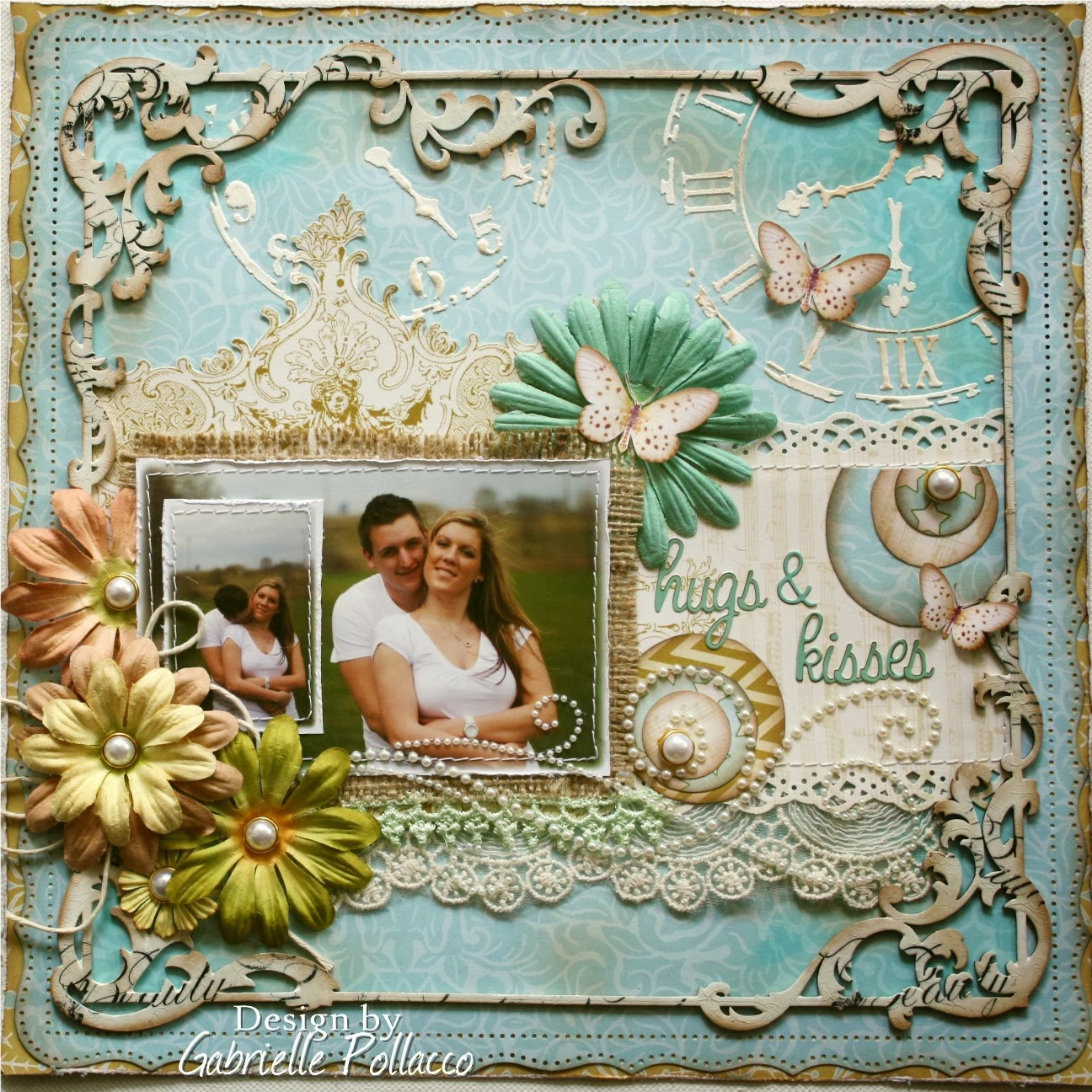 Scrapbook ideas romantic - Here Is Another Page I Made From The Same Collection Using The Golds And Soft Turquoise Blues I Wanted To Go For More Of A Romantic Look For This Page As