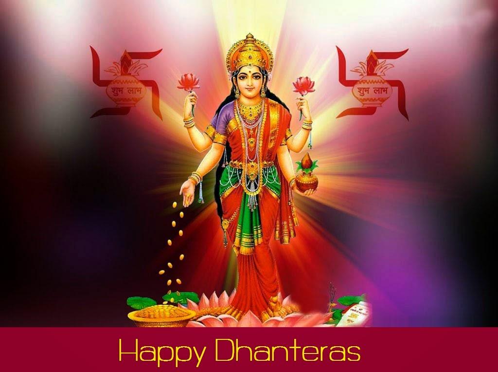 Wishing Happy dhanteras Laxmi Goddess  HD Images 2014