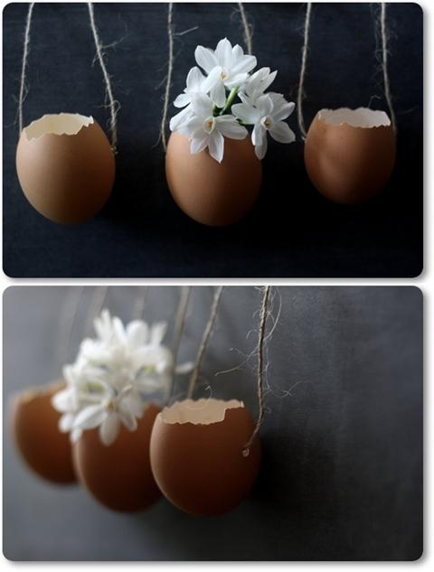 Ägg DIY, äggvaser, påskpyssel, hängande ägg, ägg