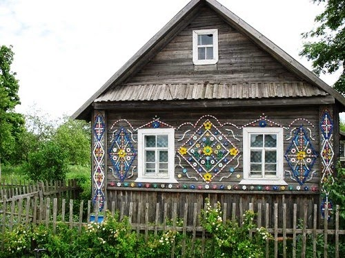 decorated home with plastic bottle caps