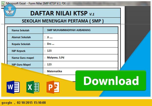 DOWNLOAD APLIKASI RAPORT DAN PENILAIAN SMP KTSP TAHUN PELAJARAN 2015-2016