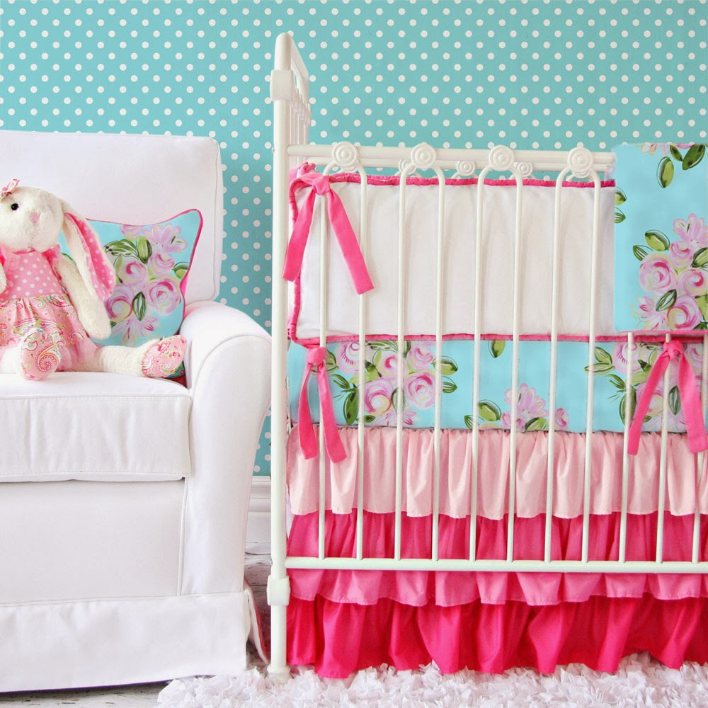Pink and Turquoise Ruffle Baby Bedding