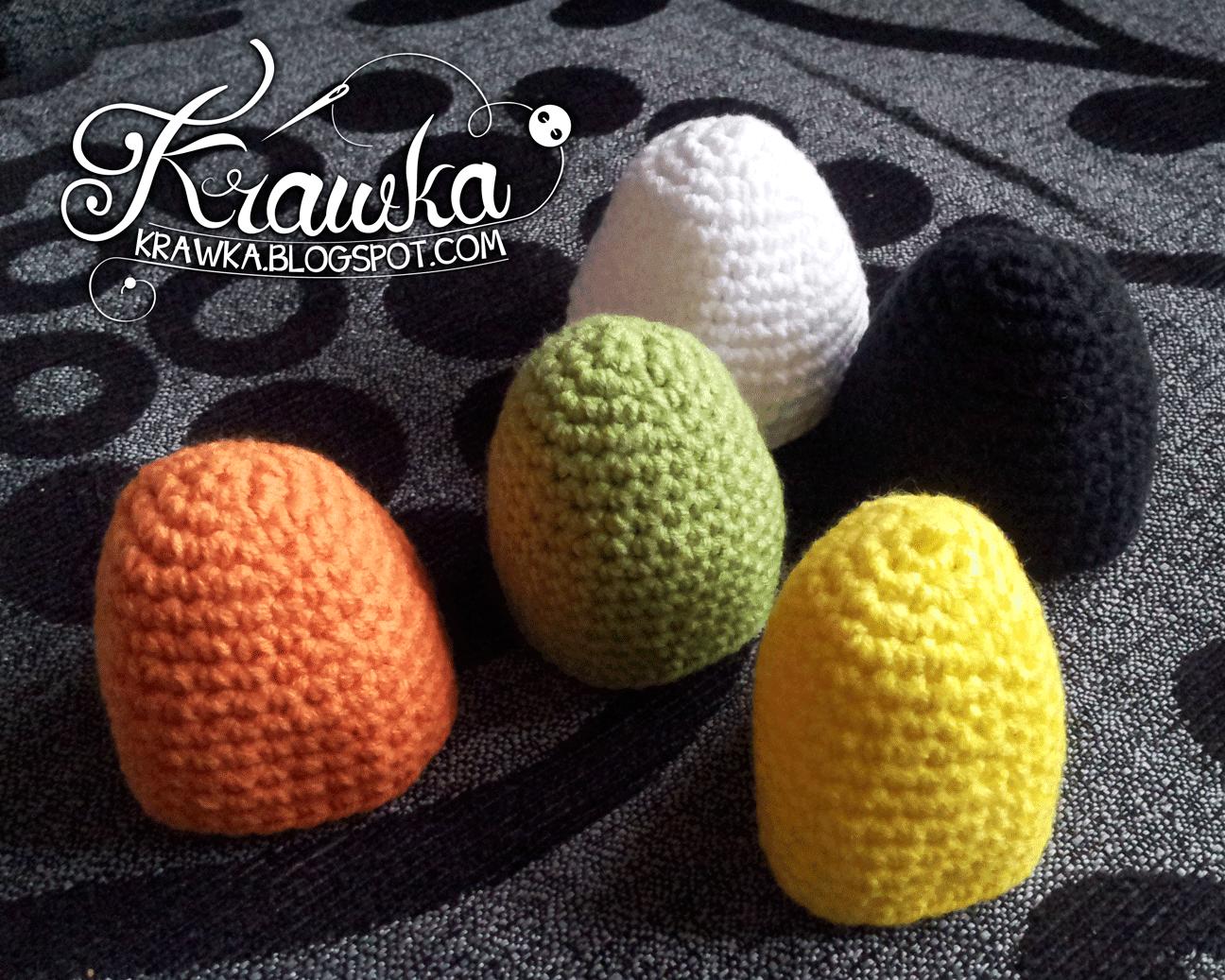 Bazowy element ocieplaczy na jajka, zrobiony na szydełku techniką amigurumi, Basic egg warmer crochet.