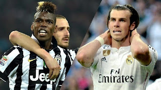 Paul Pogba, left, could be the next Galactico to arrive at Real Madrid, raising concerns over the future of Gareth Bale, right.