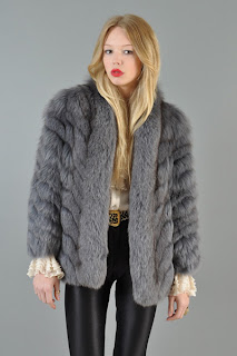 Vintage 1970's blue grey fox fur coat with zig zag pattern