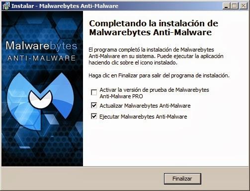 Actualizar y ejecutar Malwarebytes Anti-Malware