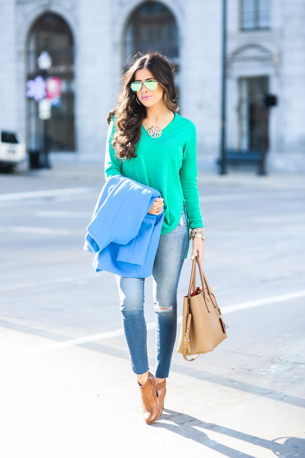 winter fashion pinterest, winter outfit idea pinterest, green trouve sweater nordstrom, AG jeans raw hem skinny jeans, oversized gold monogram, love always monogram, prada tan double tote, green mirrored ray ban aviators, cognac booties nordstrom, tan leather booties, how to style ripped jeans with tan booties, blue crew cocoon coat, brunette hair balayage medium length, brunette hair cut curls, david yurman statement rings, michael kors gold watch, david yurman alex ani bracelet stack, tulsa fashion blogger, downtown tulsa, bright winter outfit idea, emily gemma, the sweetest thing blog