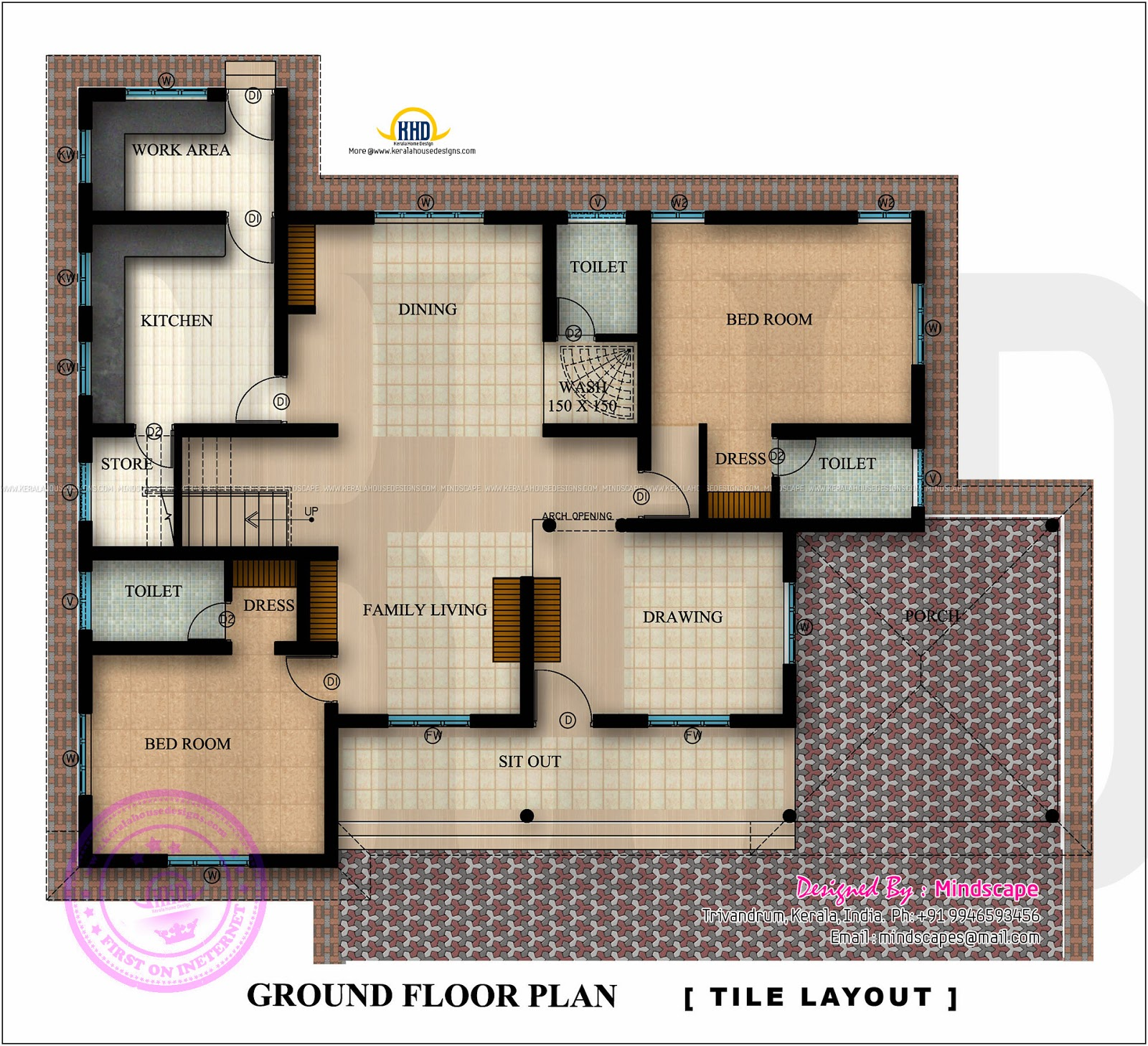 Floor plan and elevation of 2350 square feet house for 100 sq ft kitchen designs