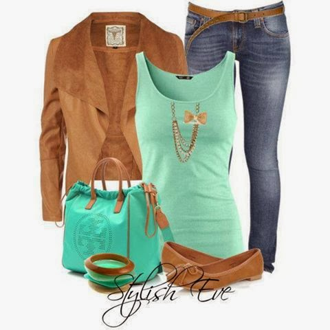 Brown jacket, blue blouse, jeans and blue handbag for fall