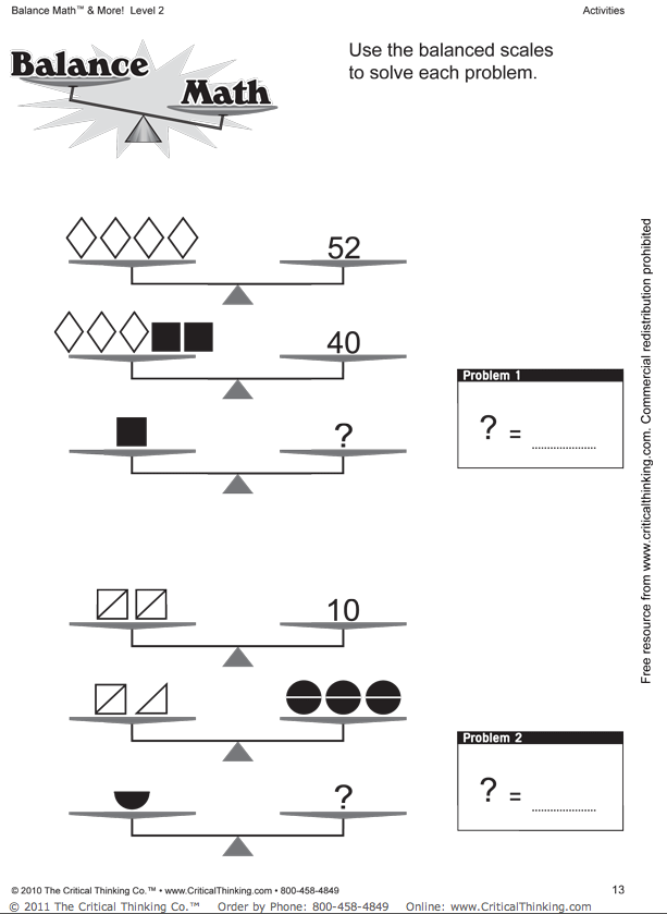 Balancing equations homework – Math Equations Worksheet