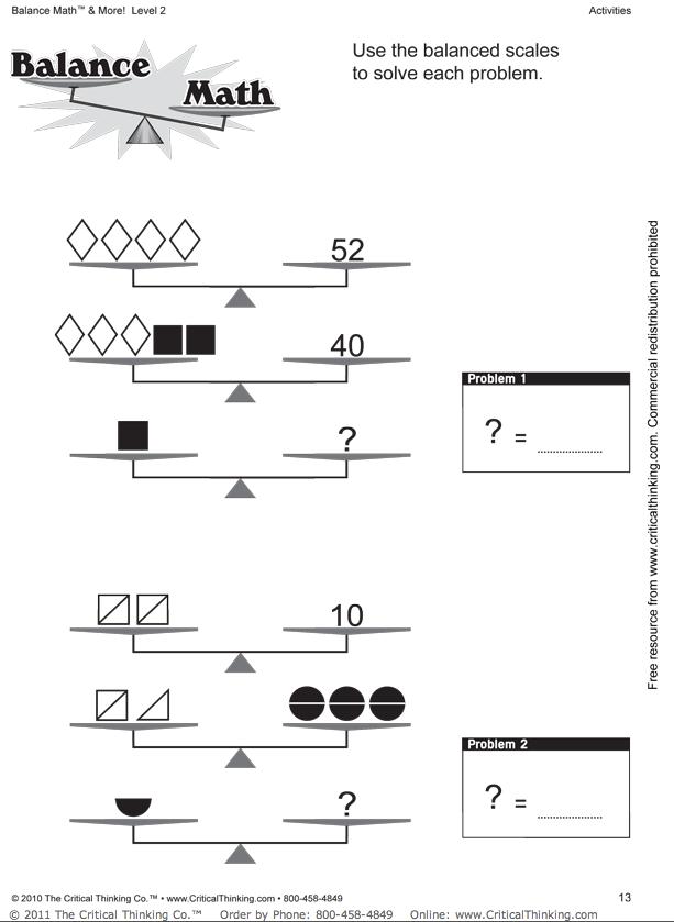 math worksheet : balancing math equations worksheets 2nd grade  worksheets : Maths Equations Worksheets