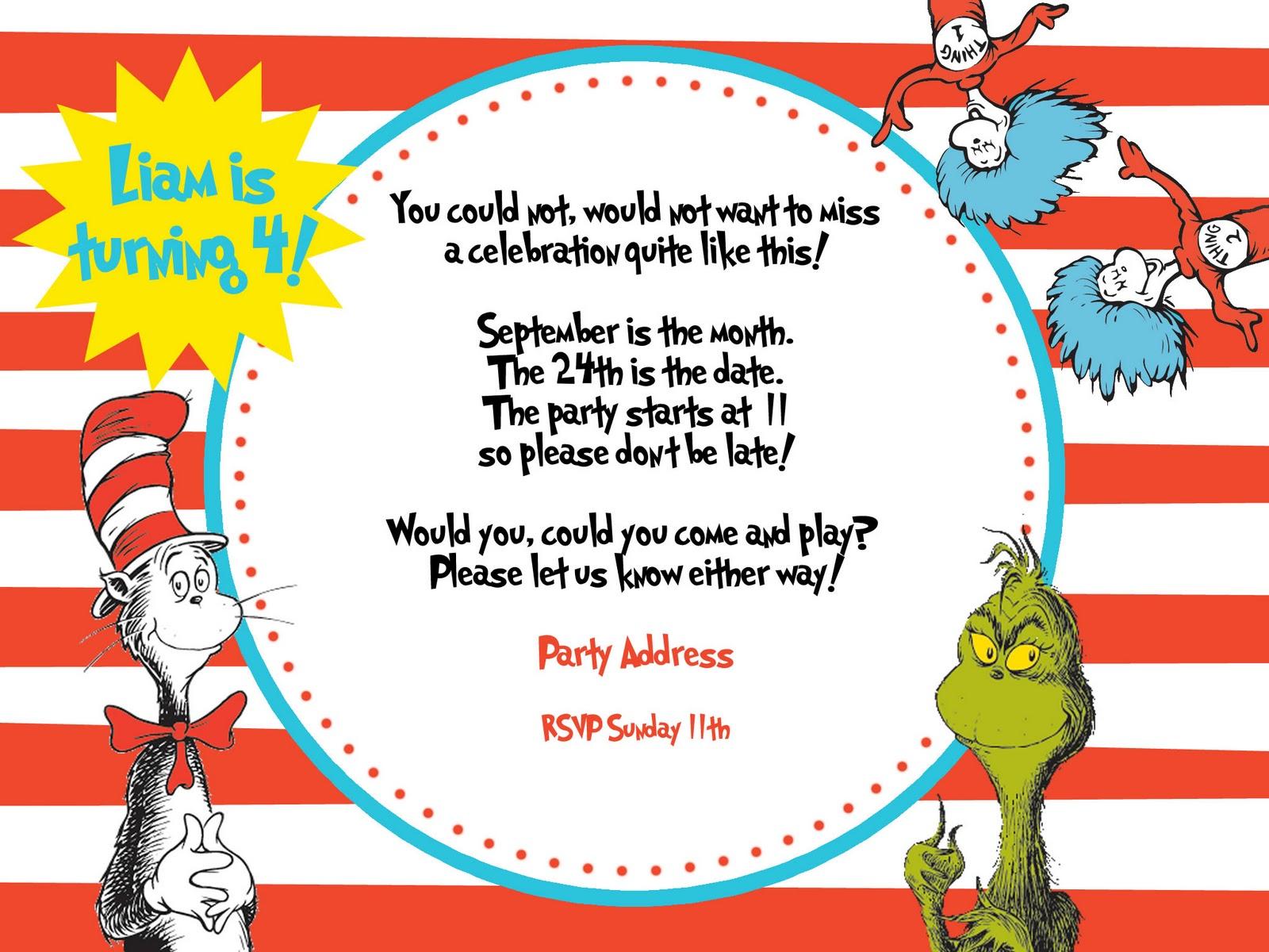Liams Dr Seuss 4th Birthday