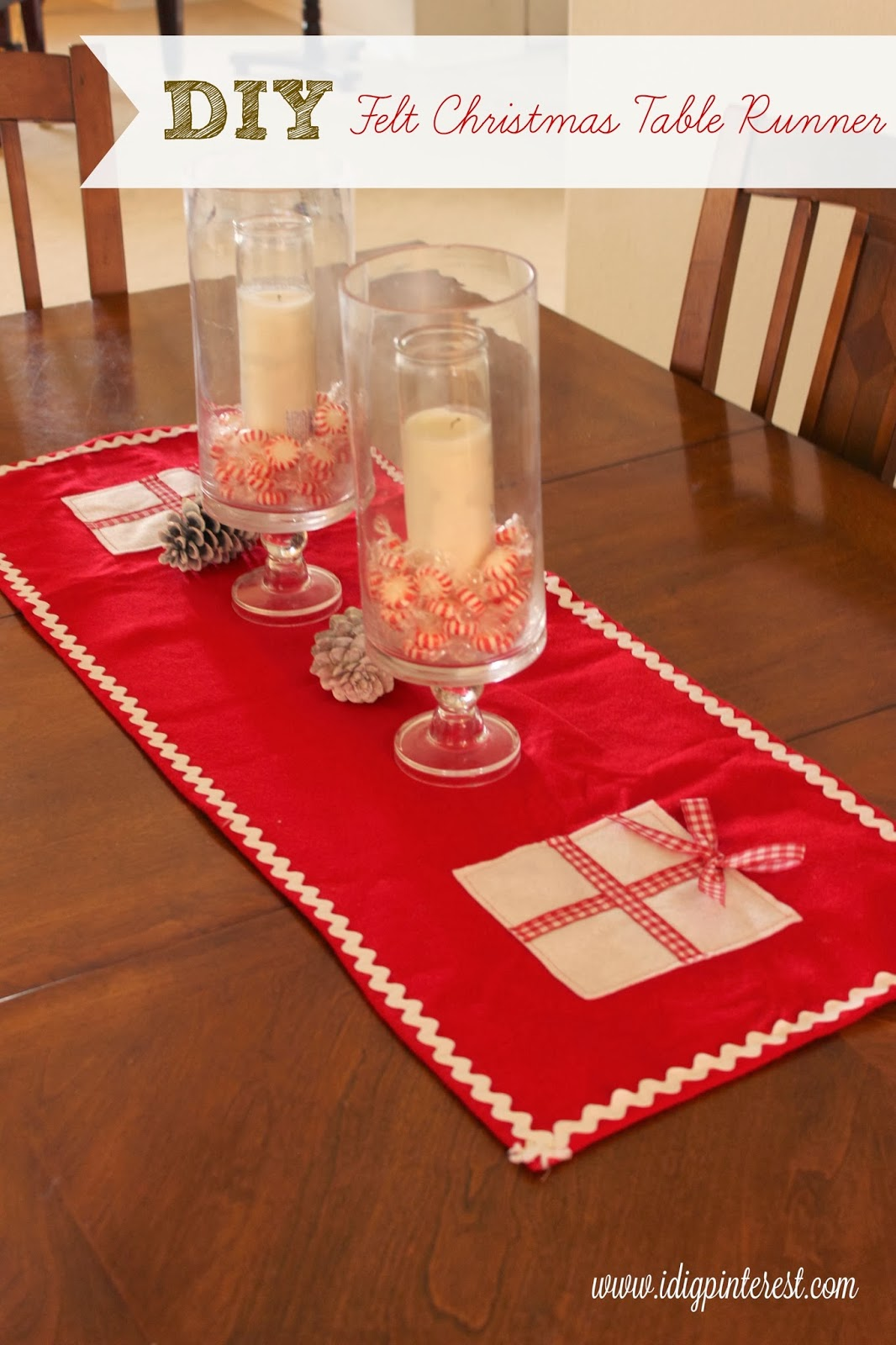 diy felt christmas table runner i dig pinterest. Black Bedroom Furniture Sets. Home Design Ideas