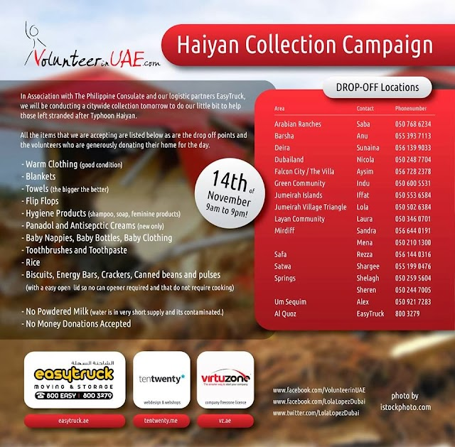 10 activities in the UAE that aims to aid Typhoon Haiyan victims