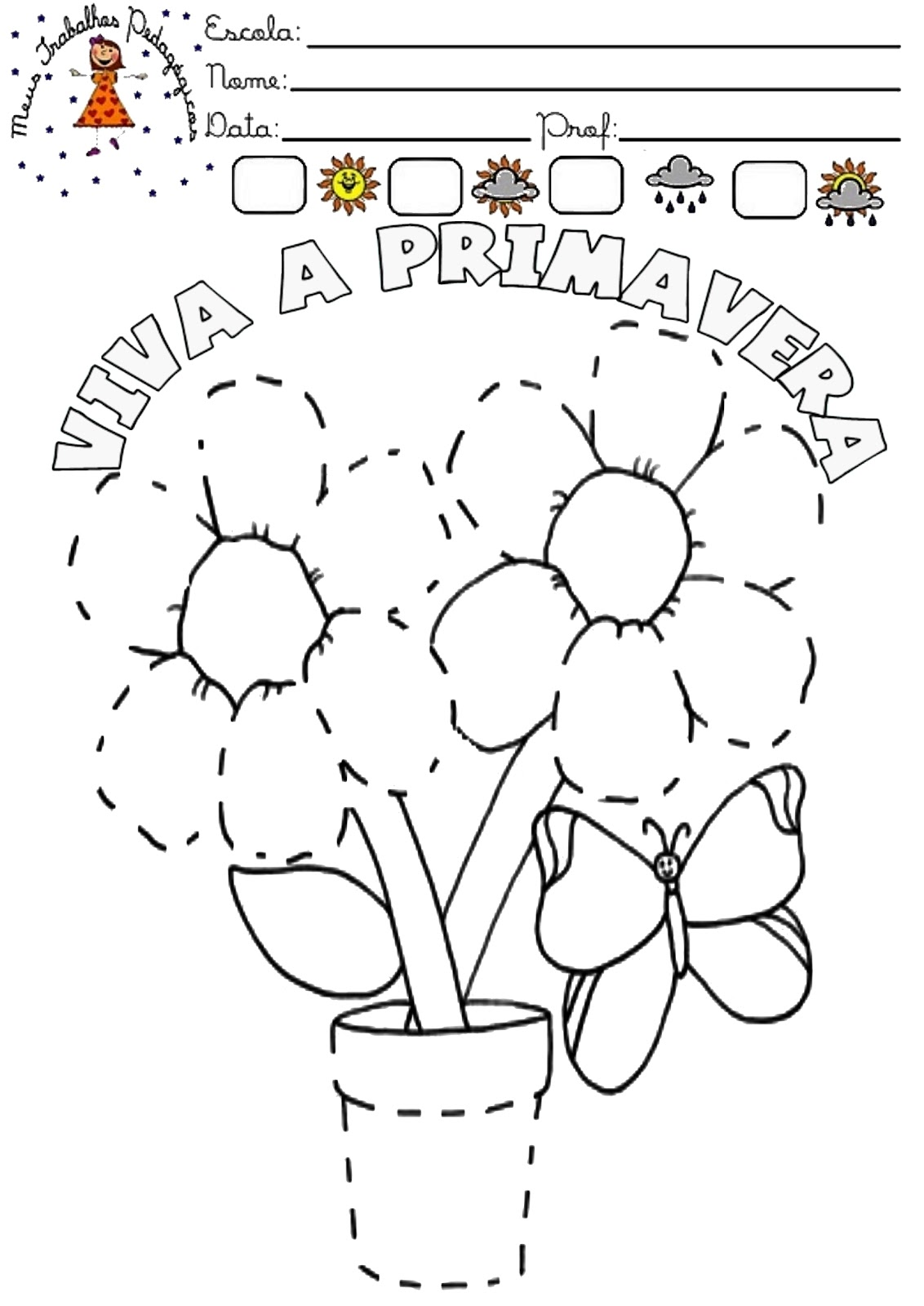 Populares Meus Trabalhos Pedagógicos ®: Primavera - Flores para colorir XU05