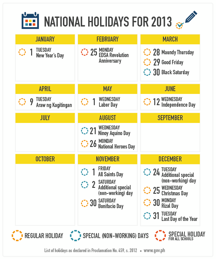 infographic list nationwide holidays