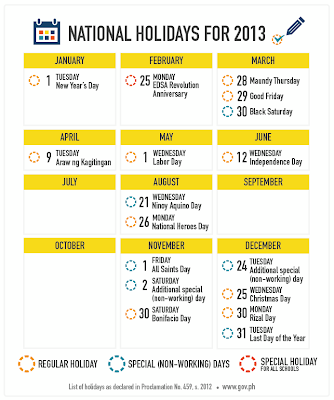 List of Philippine Holidays for 2013