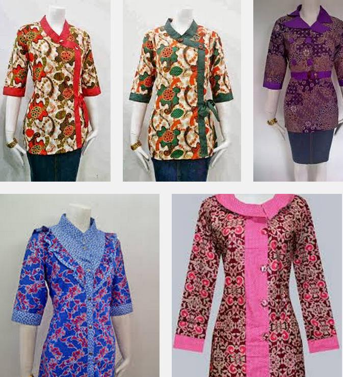 Model Baju Batik Kerja Wanita Lengan Panjang Kombinasi