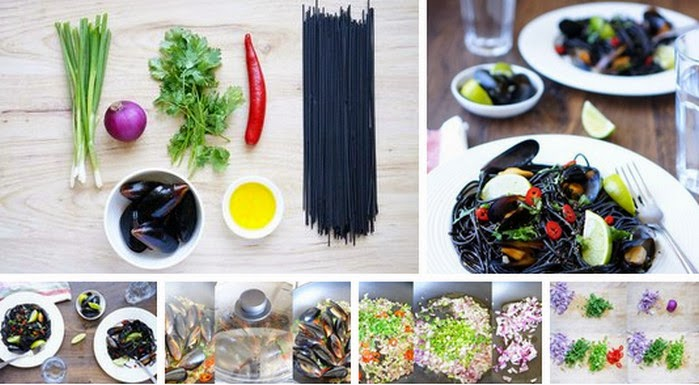 Recipe: Black pasta with mussels