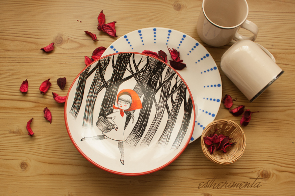 plato ceramica dibujado por estherimenta