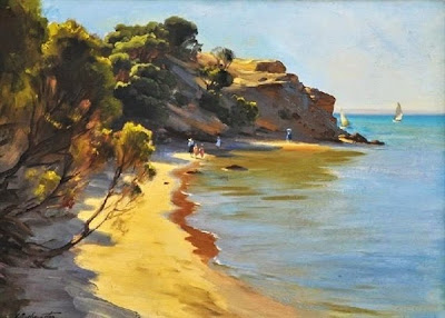 Painting by Ernest Buckmaster - Beach scene