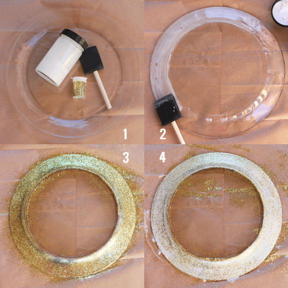 gold glitter dollar store charger plates tutorial │ thehappytulip.com