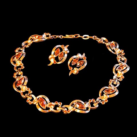 Vintage Kramer Amber Necklace and Matching Earrings