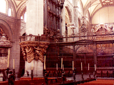 Inside the cathedral in Mexico City