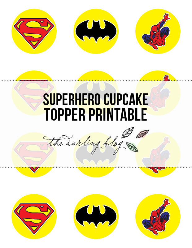 graphic about Superhero Cupcake Toppers Printable referred to as The Darling Web site: Superhero Cupcake Topper Printables