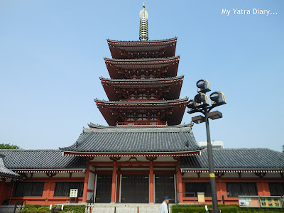 The five storied pagoda at the Sensoji Temple, Tokyo