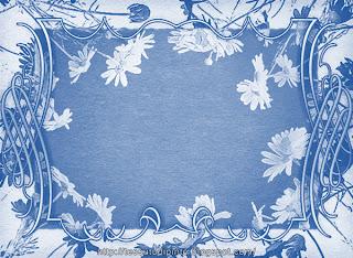 Illustrazione grafica con margherite: invito stampabile in azzurro