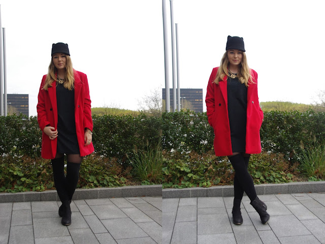 cat hat. monki, coutie dress, coies coat, red oversize coat,