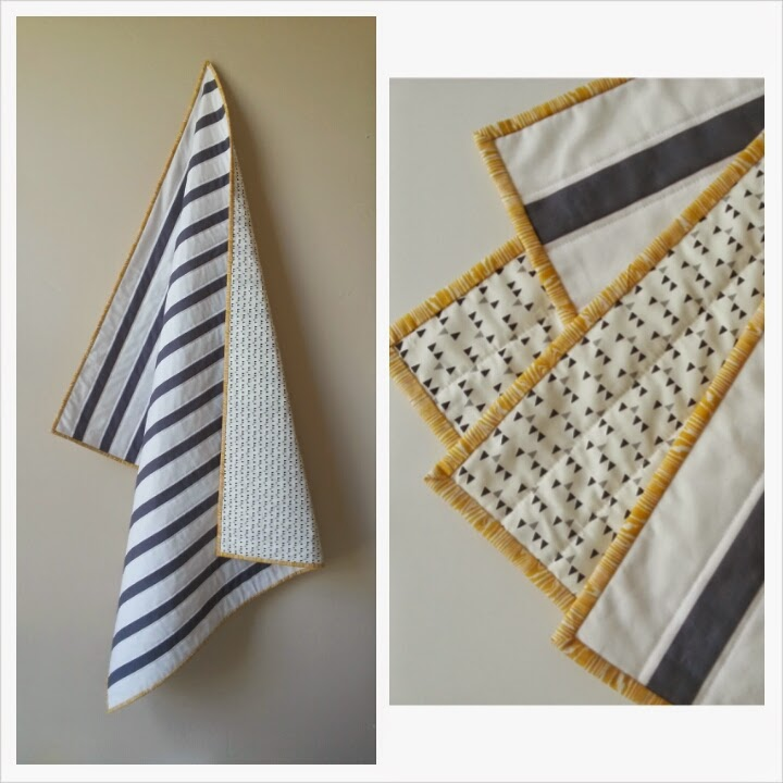 Charcoal Gray Modern Striped Baby Quilt