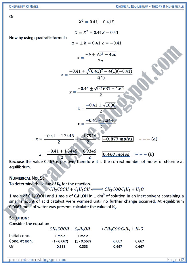 Chemical Equilibrium - Theory And Numericals (Examples And Problems) - Chemistry XI