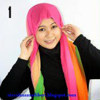 Cara Memakai Jilbab Kreasi Jilbab Pashmina Shifon Rainbow