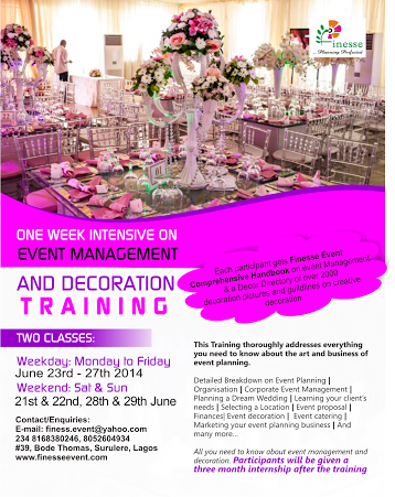 Event Services Presents Event Management And Decoration Training