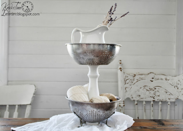 Repurposed Kitchen Strainer Tiered Stand by  http://knickoftimeinteriors.blogspot.com/