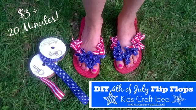 DIY 4th Of July Flip Flops One Savvy Mom Kids Craft Tween Tutorial Onesavvymom
