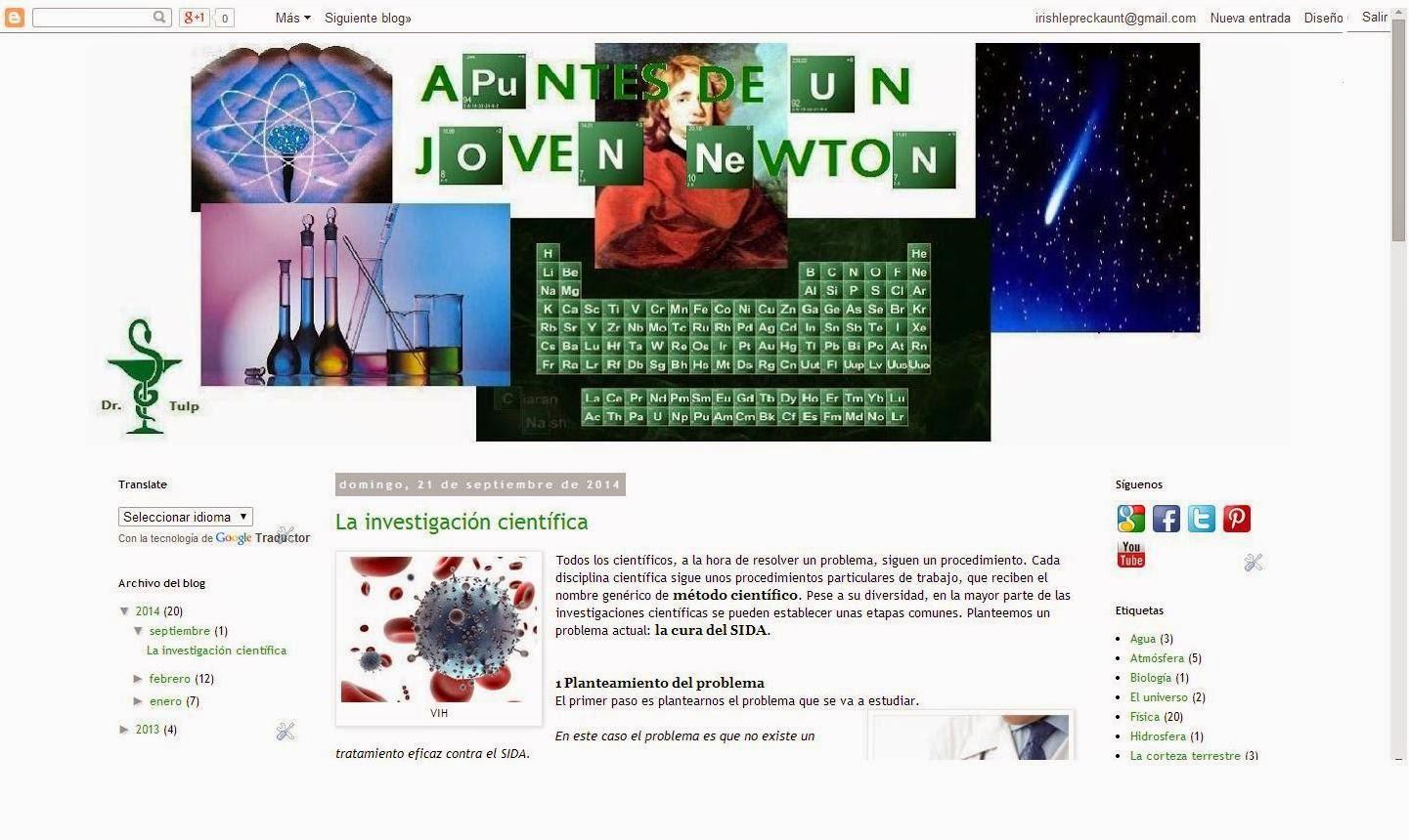Interfaz de Apuntes de un Joven Newton