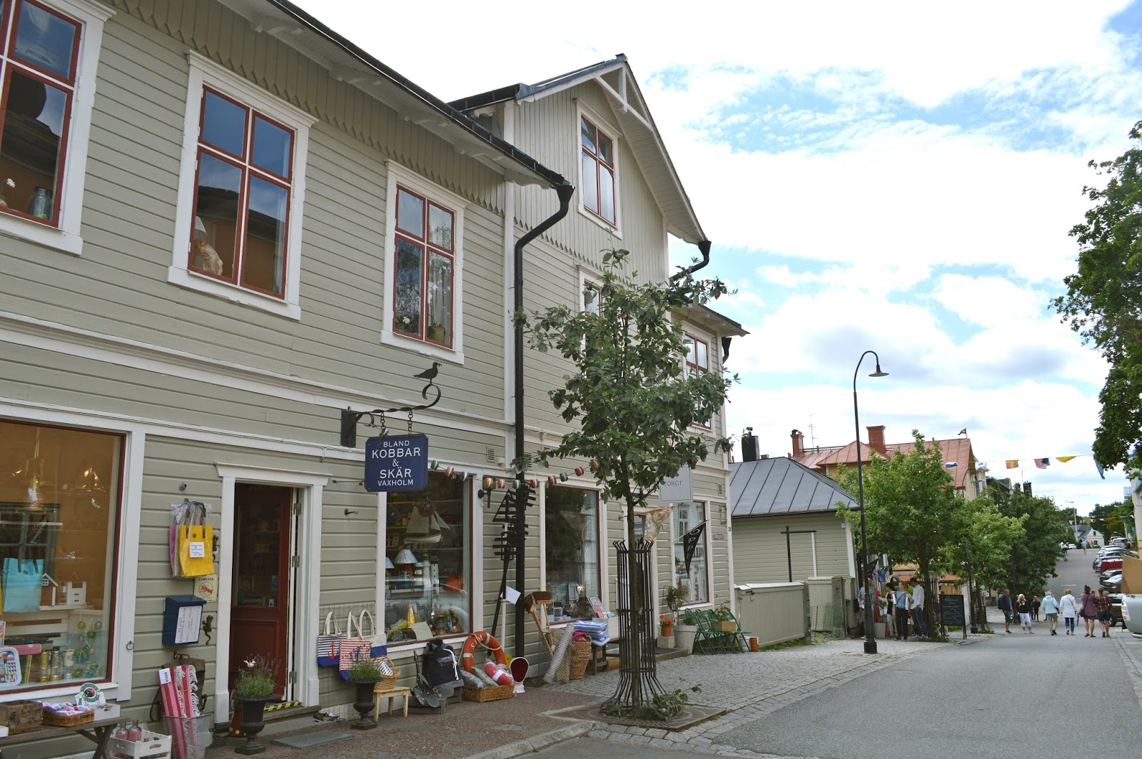 Shops in Vaxholm centre capital of Stockholm archipelago