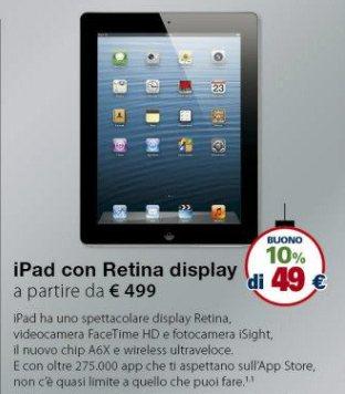 10% di sconto con rimborso spesa sul prezzo dell'iPad 4